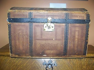 Antique primative dome top small doll trunk early!