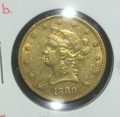 1880 $10 Gold Liberty Pre-33 Type Gold RAW XF to AU Details