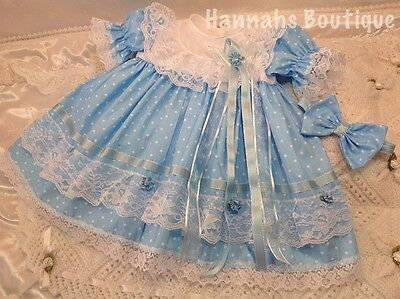 Hannahs Boutique 6-9 Month Baby Blue Spotty Frilly Dress & Headband Set