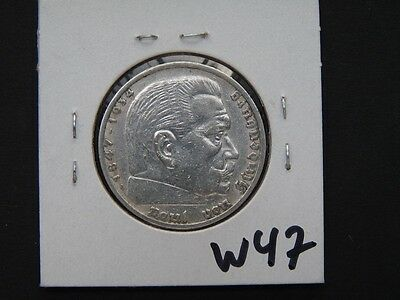 Vintage Coin Germany Third Reich 1936 A 5 Marks Silver     W47