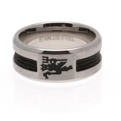 Official Licensed Football Product Manchester United Black Inlay Ring Large Gift