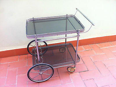 Vintage 1960 Spanish Mid-Century Drinks Trolley Bar Cart Cocktail Cabinet