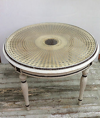 Vintage Art Nouveau Rattan & Hand Carved Round MIdCentury Coffee Tea Side  Table