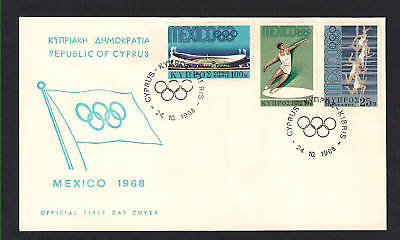 CYPRUS 1968 MEXICO OLYMPICS  DISCUS SPRINT FINISH STADIUM SET 3 Val. FDC.