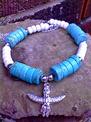 Silver Owl Totem Blue White faceted turquoise gemstone beaded chain necklace SET