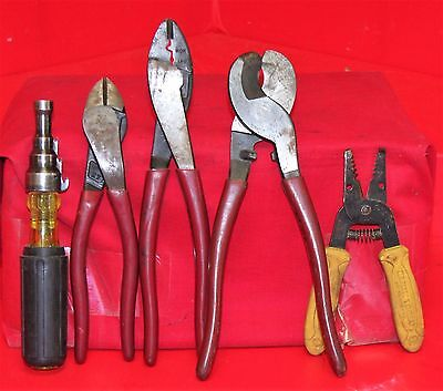 Klein Tools Lot of 5 Wire Cutters Crimper, Reaming Screwdriver Cutting Pliers