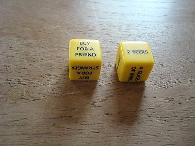 Adult Dice Drinking Game Including 2 X Different Yellow Dice - Vgc Used