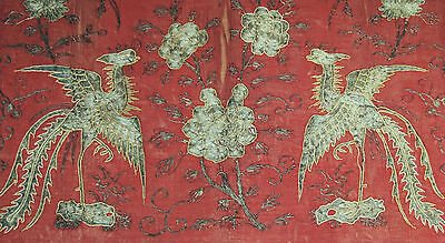 93x63cm China Stickerei chinese antique silk gold silver embroidery phenix