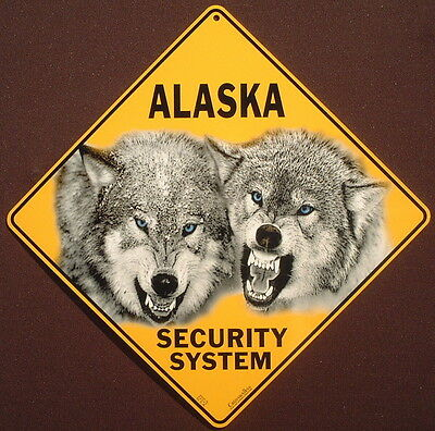 ALASKA  SECURITY SYSTEM CROSSING Sign aluminum novelty decor wolves  wildlife