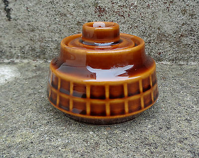 Vintage 1970's Pruszkow Polish Pottery Sugar Bowl - Brown Check Pattern