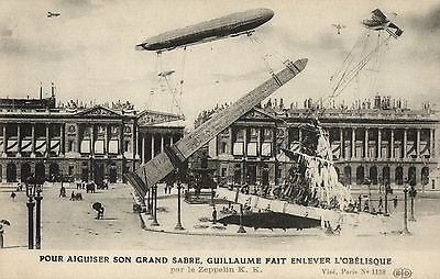 photo montage Zeppelins French old  fantasy postcard
