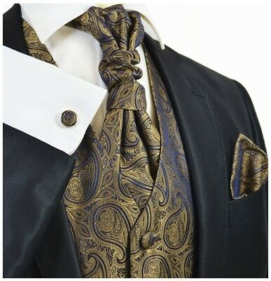Ermine Brown Paisley Men's Tuxedo Vest, Tie and Accessories Set by Paul Malone