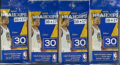 (4) 2016-17 Panini HOOPS NBA Basketball Trading Cards New 30ct Fat Pack LOT