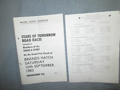 Stars Of Tomorrow Road Races Brands Sat 10 Sept 1983 Official Programme & Result