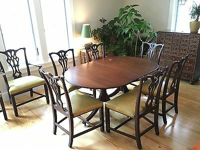 1940s Mahogany Oval Dining Room Table ( Banquet Length) & 8 Chippendale Chairs