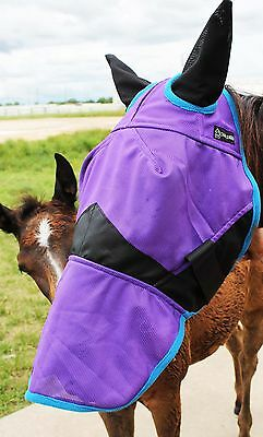 Equine Horse Fly Mask Summer Spring Airflow Mesh UV Mosquitoes Purple 73247