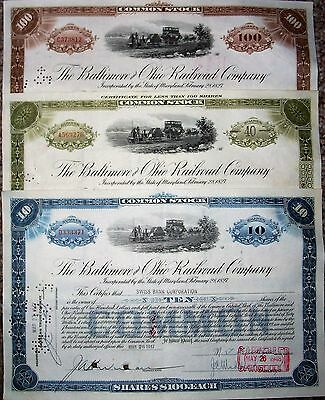 3-Baltimore & Ohio Rr Co. Stock Certificates/different Colors/each Dated 1948