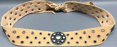 NEW Womens Jr #J10 Khaki Faux Leather Studded Rodeo Buckle Fashion Party Belt