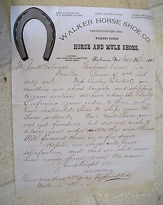 "Collectible 1883 Letter Head ""WALKER HORSE SHOE CO."" Baltimore,Maryland"