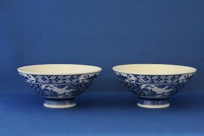 A Pair Of Blue And White Chinese Rice Bowls