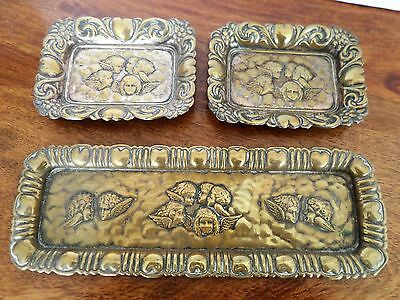 Reynold's Angels Art Nouveau Silver Plated Brass Trays X 3