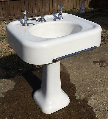 Rare Early 1900's Antique Vintage Seperate Faucet Kohler Pedestal Bathroom Sink