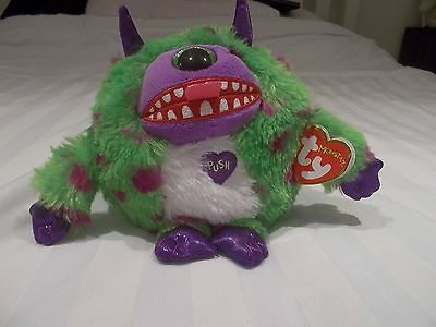 NWT New TY Monstaz Trouble - Green Monster with Sound when you press Tummy