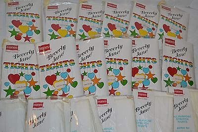 VINTAGE New Lot of 12 Hanes Red Label Beverly Jane Children's Tights White   B