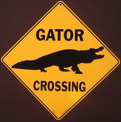 GATOR CROSSING SIGN silhouette aluminum  gator  decor novelty signs animals