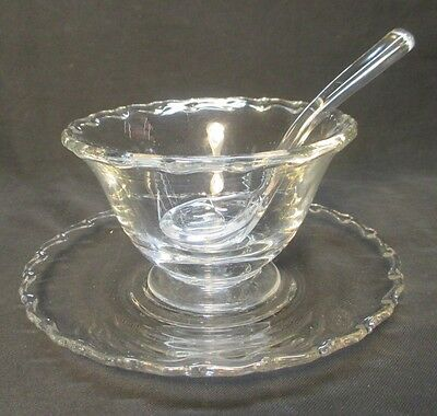 Fostoria Century Small Glass Server Mayonaise Bowl with Ladle and Tray