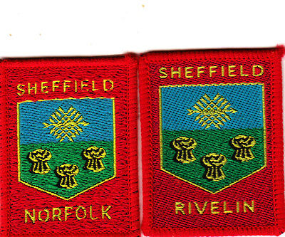Boy Scout Badges SHEFFIELD NORFOLK + Ext RIVELIN DISTRICTS red