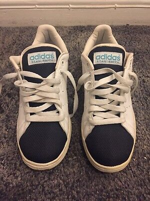 Adidas White And Blue, Stan Smith Trainers. U.K. Size 9.