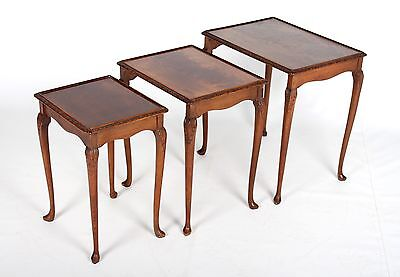 Antique Vintage Nest Of Tables Mahogany 3 Tuckaway Tables Fine Quality