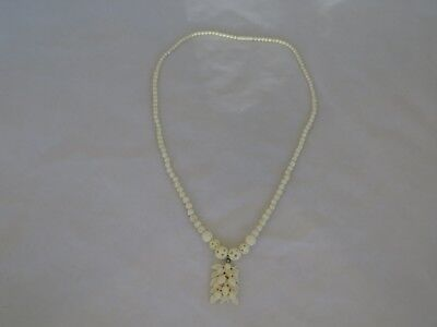 "Vintage Asian Carved Bone 25"" Necklace with Pendant"
