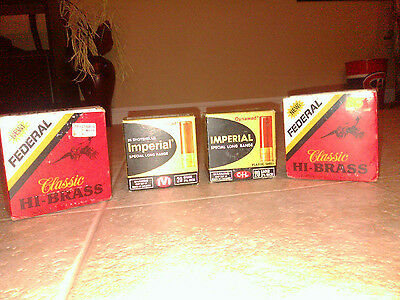 4 RARE Vintage Shell Boxes *Imperial *Federal 12 & 20 Gauge Nice Unique Designs
