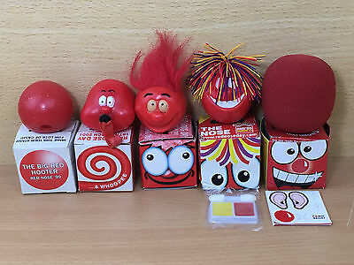 Rare Red Nose Day Comic Relief noses - 1999,2001,2003,2005,2007 boxed - Ref #12