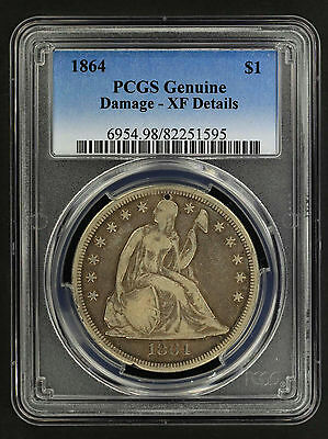 1864 Seated Liberty Silver Dollar PCGS Genuine XF Details Damage -154964