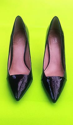 NEXT Womens Black Patent Shiney Court Wet Look Pointed Heel Stiletto Shoes 6