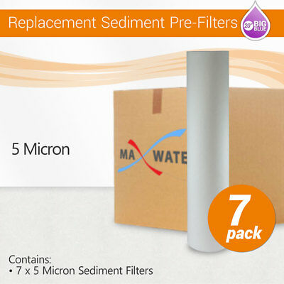 """(7) 20"""" x 4.5"""" Big Blue Whole House Water Filter Sediment 5 Micron Water Filter"""
