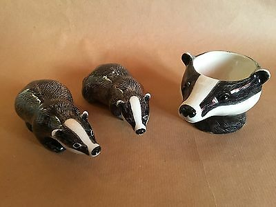 Badger Pepper & Salt and Egg Cup by Quail Ceramics NEW UNUSED