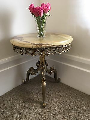 Vintage Marble Round Coffee/side Table With Brass Base.