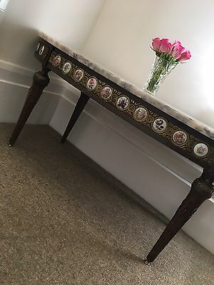 Vintage Real Marble Carved Coffee Table With 36 Perfect Condition Ceramic Cameos