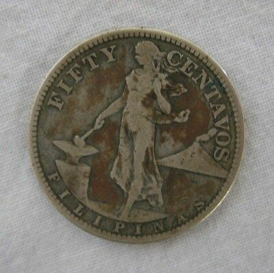 1918 USA Philippines Fifty Centavos Silver Coin