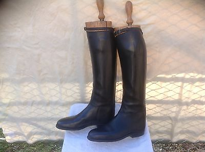 Vintage Black Hunting Mens Top Boots With Trees