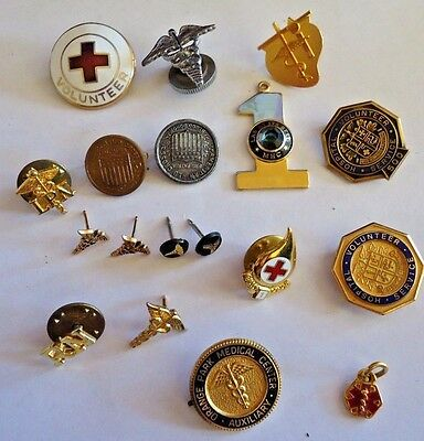 Lot of medical pins red cross RN LPN caduceus earrings & pin + other misc