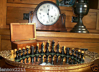 Vintage Boxwood Ebony Chessmen Ayres Red Crowns Rare Castellations Not Jaques