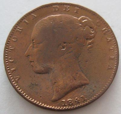 Great Britain Farthing 1841 VG cleaned   Queen Victoria  #116