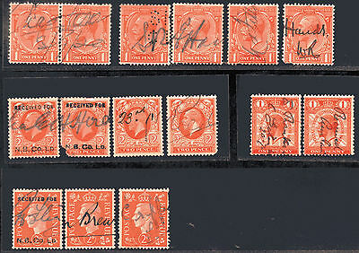 GB George V and George VI used hand signed collection of 15 stamps