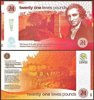 England/ Lewes -1st. series £21 Banknote,almost identical to the 2nd.version*UNC