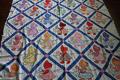 Vtg Hand Made Dutch Doll Quilt Top Hand Applique 78X90In